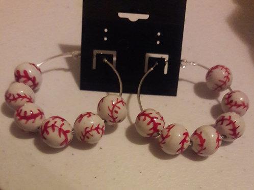 Baseball Hoop Earrings