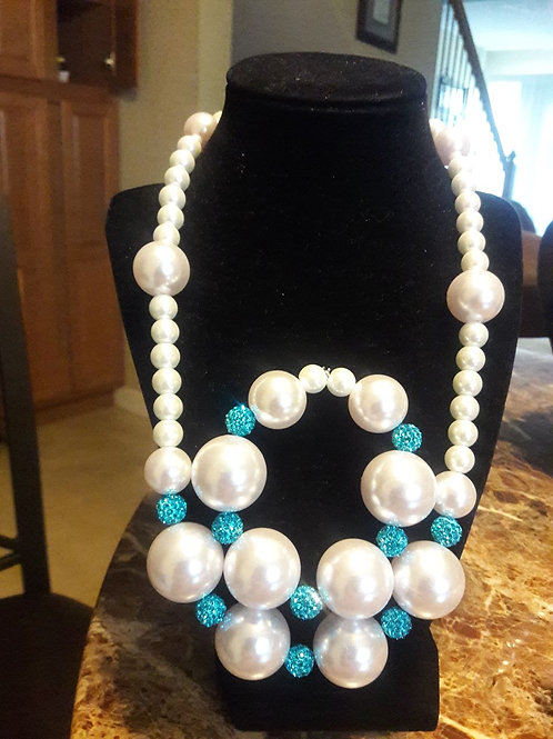 Pearl and turquoise sparkling set