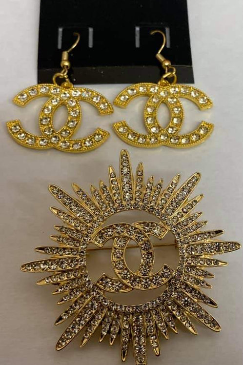 Gold Chanel Brooch and Earring Set