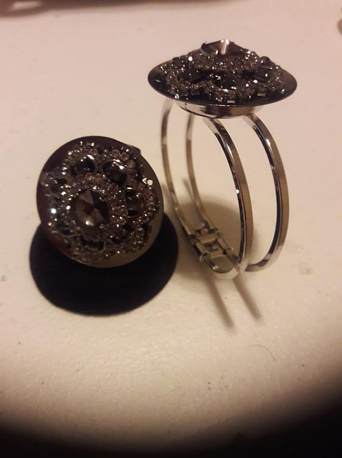 Sparkling Black and Silver on Silver