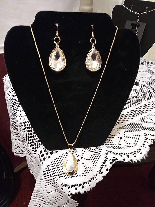 Tear Drop Gold Chain Neck lace 2pc