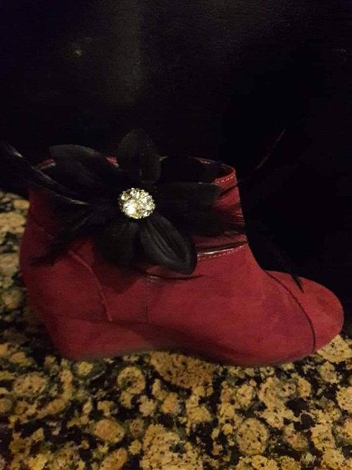 Black Feather Brooch Flower Shoe Ornament
