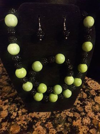 Lime Green and Black 3 piece set