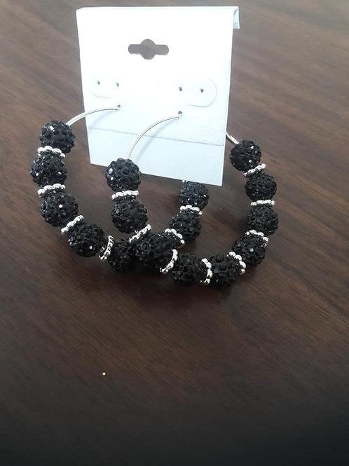 Black & Silver Sparkling Hoop Earrings