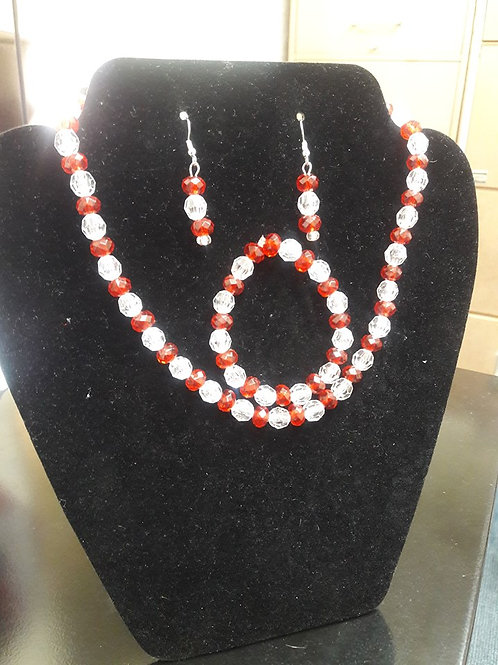 Red and Clear beaded Necklace Set