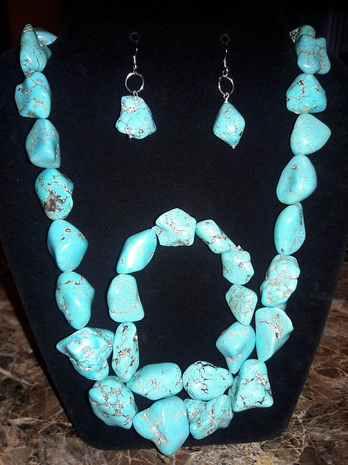 Turquoise and Brown 3 piece Rock set