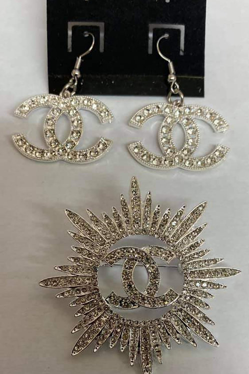 Silver Chanel Brooch and Earring Set