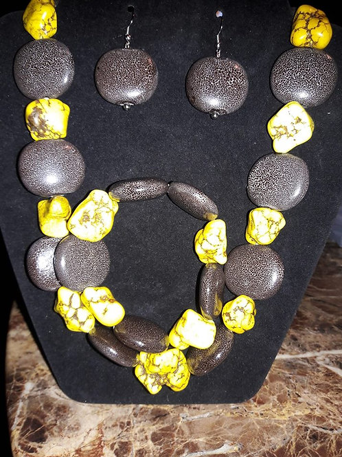 Yellow and Brown Rock Necklace