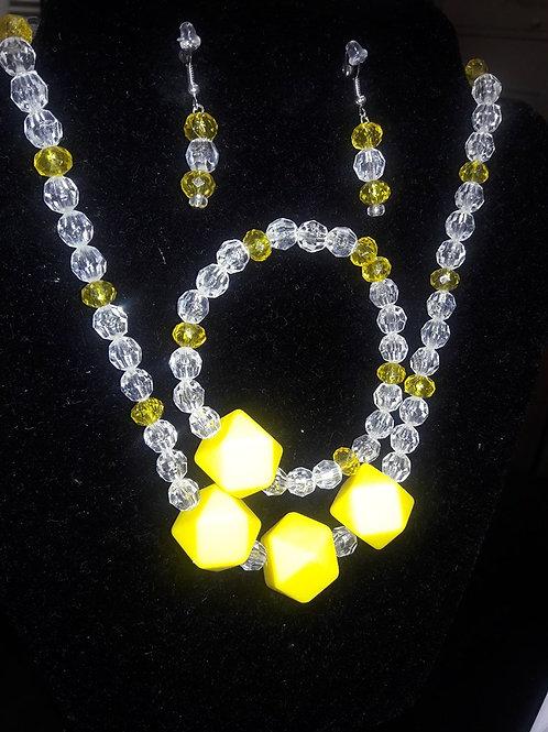 Kidz  yellow and crystal 3 piece set