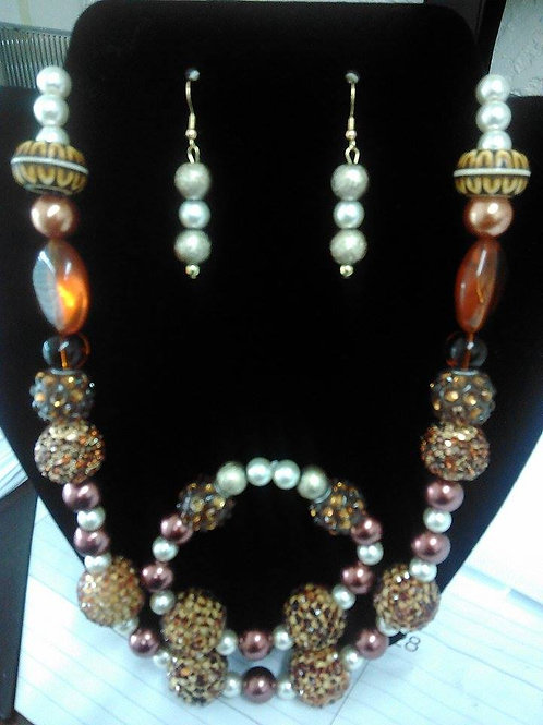 Brown Egyptian Style Necklace & Bracelet Set