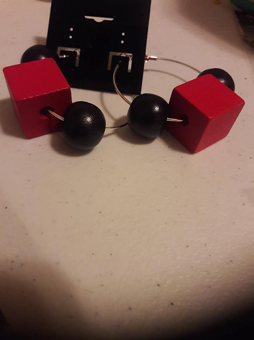 Black & Red Circle Cube Hoop Earrings