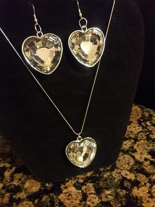Silver Heart Necklace and Earring set