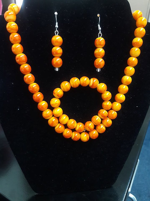 Classic Orange Beaded Necklace