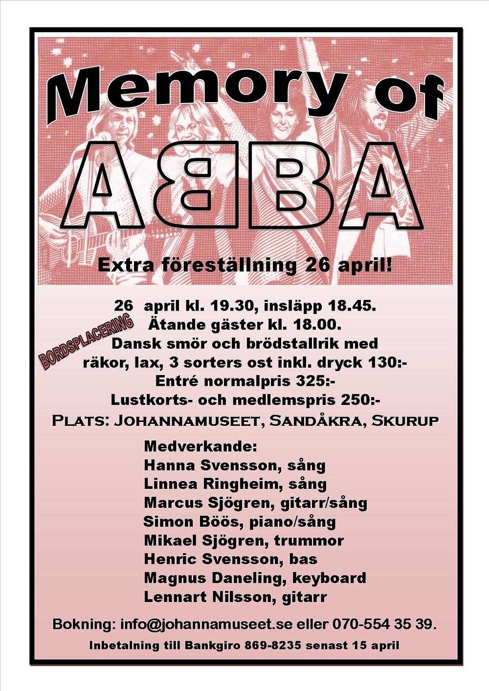 ABBA Johannamuseet Sydkusten Skåne
