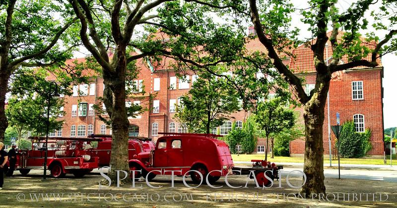 Sydkusten Skåne Ystad sprutmönstring brandbilar sommar aktivitet musikkåren