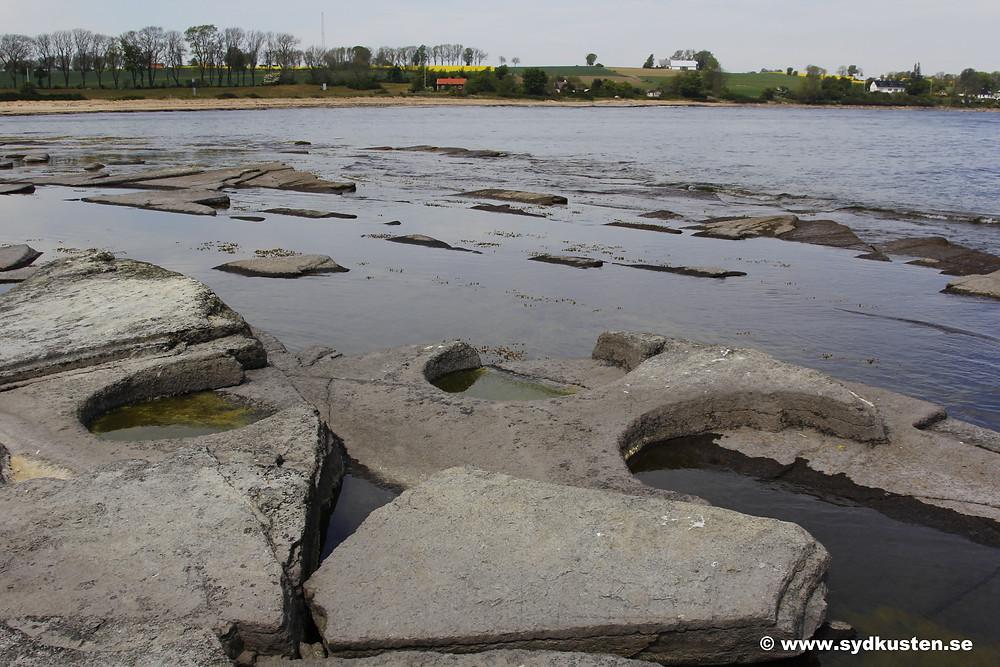 Sydkusten Skåne mill stones Gislövshammar beach Österlen