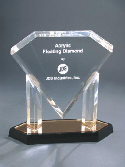Gold Floating Diamond Acrylic