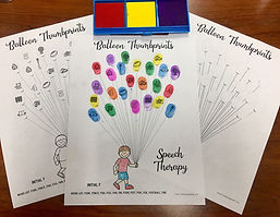Speech therapy balloon themed thumbprint craft