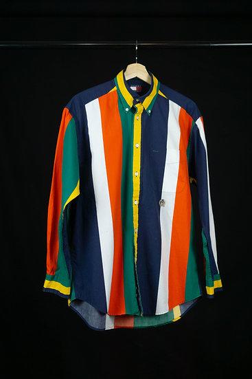 90's Vintage Tommy Multi Color Stripe Shirt