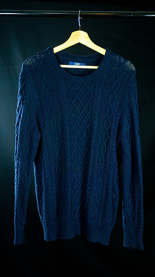 J Crew Cable Knit Sweater Navy Blue