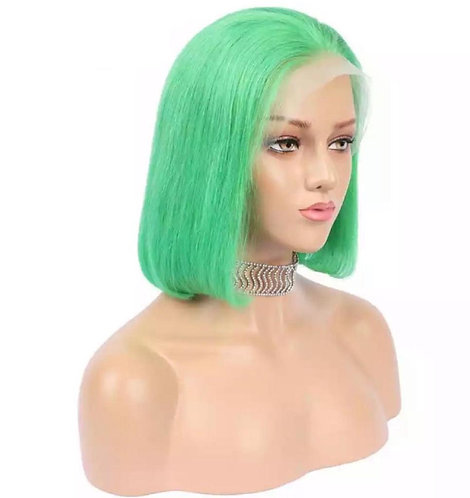green wig, green, human wig, swiss lace front wig, lace, short, short wig, bob wig, human hair, 10 inches, 13x4 swiss lace