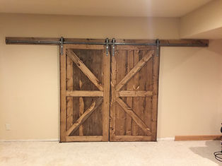 Stained BK Pine Barn Doors With A Matching Trim Package Really Completed  The Look Of This Room.