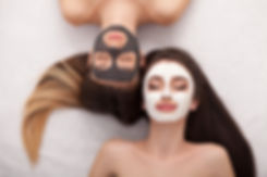 Group woman getting facial mask and goss