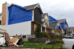tarped house