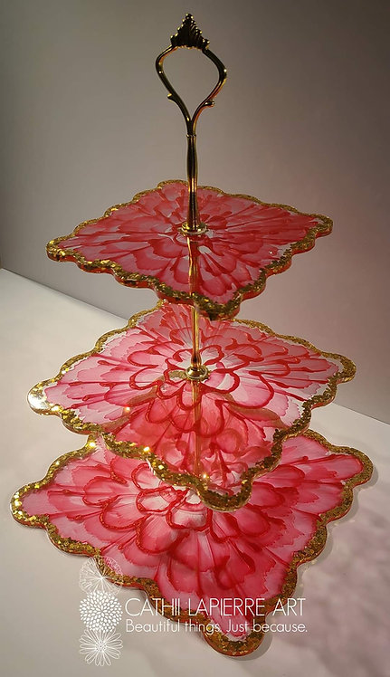 Red Flower 3 Towr Tray