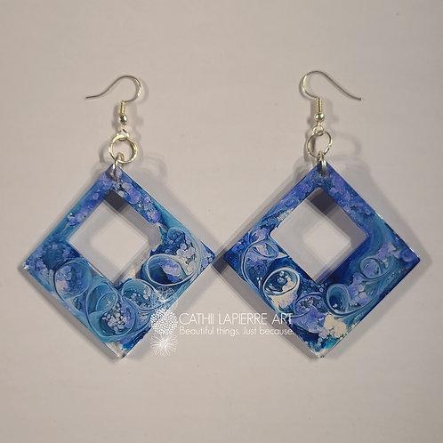 Blue Swirl Diamond shape Earrings
