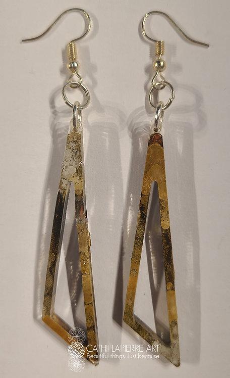 Sepia & Gold Triangle Earrings