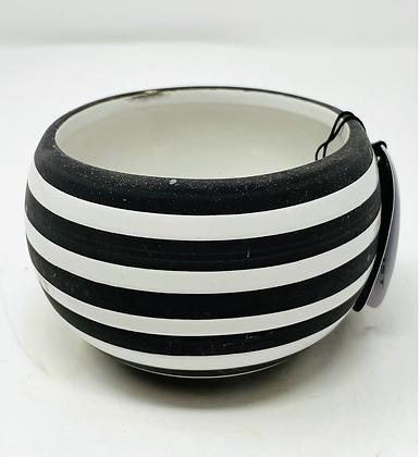 """2.5"""" ceramic pot - black/white stripe"""