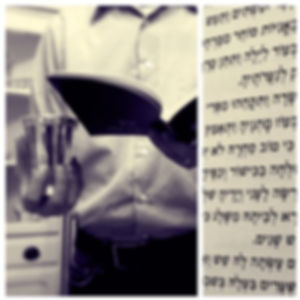 A composite image: on the left, a man stands holding a silver kiddush cup in his right hand and a Sabbath prayer book or bencher in his left hand. He is wearing a collared shirt; his face is not in view. On the right side, a photo of the Hebrew text from the Friday evening kiddush blessing.