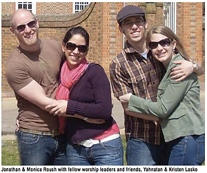 A picture of the four worship leaders described in the article about Beth Messiah's worship ensemble