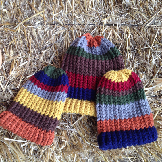 Striped Knit Beanies