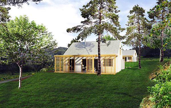 projekt drevodomu pre mladú rodinu