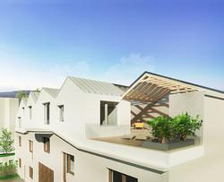 bývanie na streche s veľkou strešnou terasou