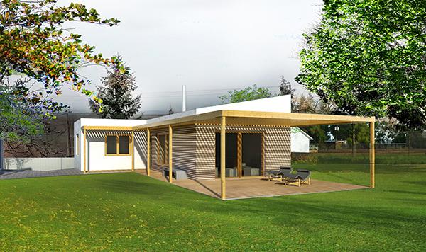 moderný drevodom so zelenou strechou