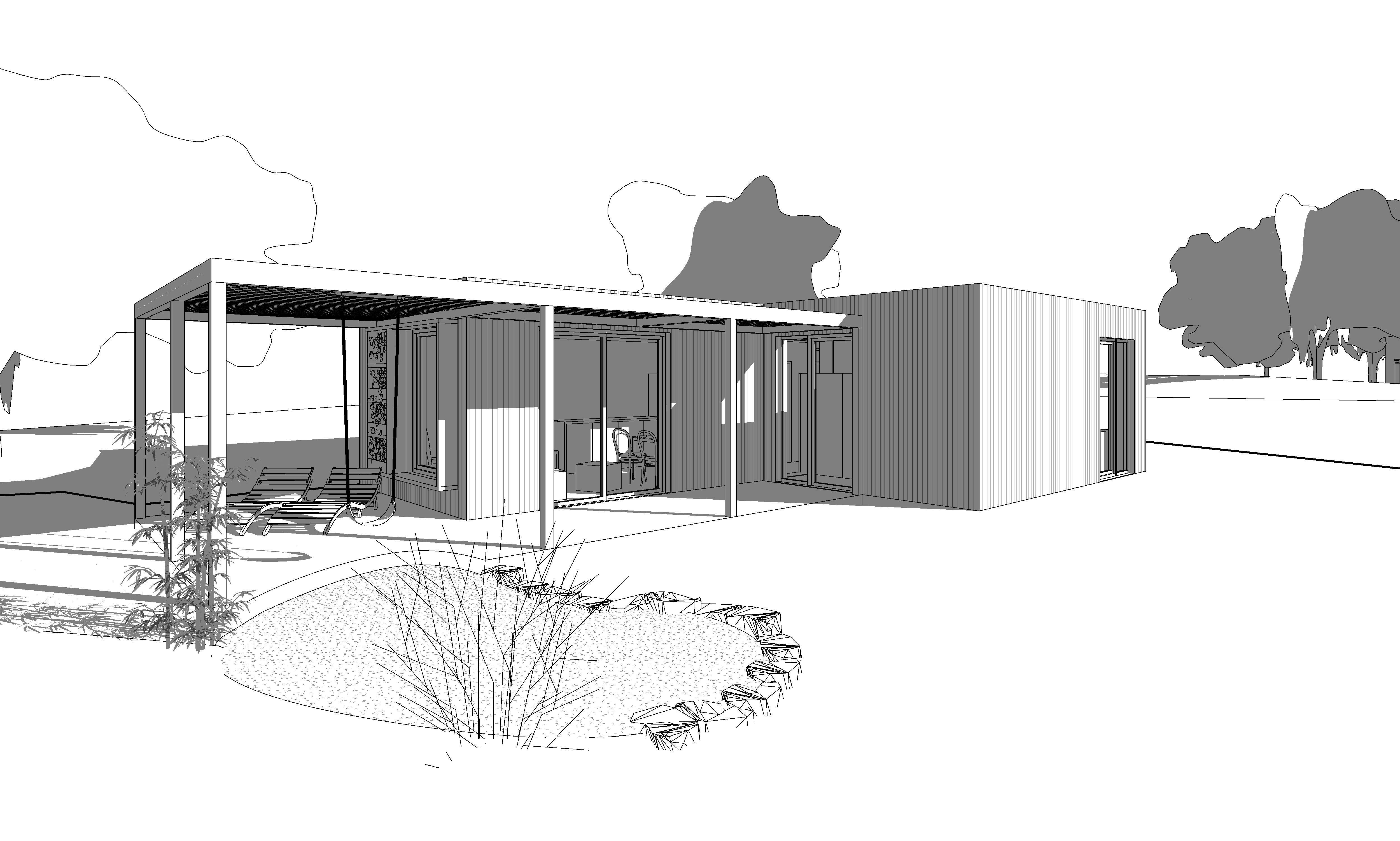 mobilný dom so zelenou strechou