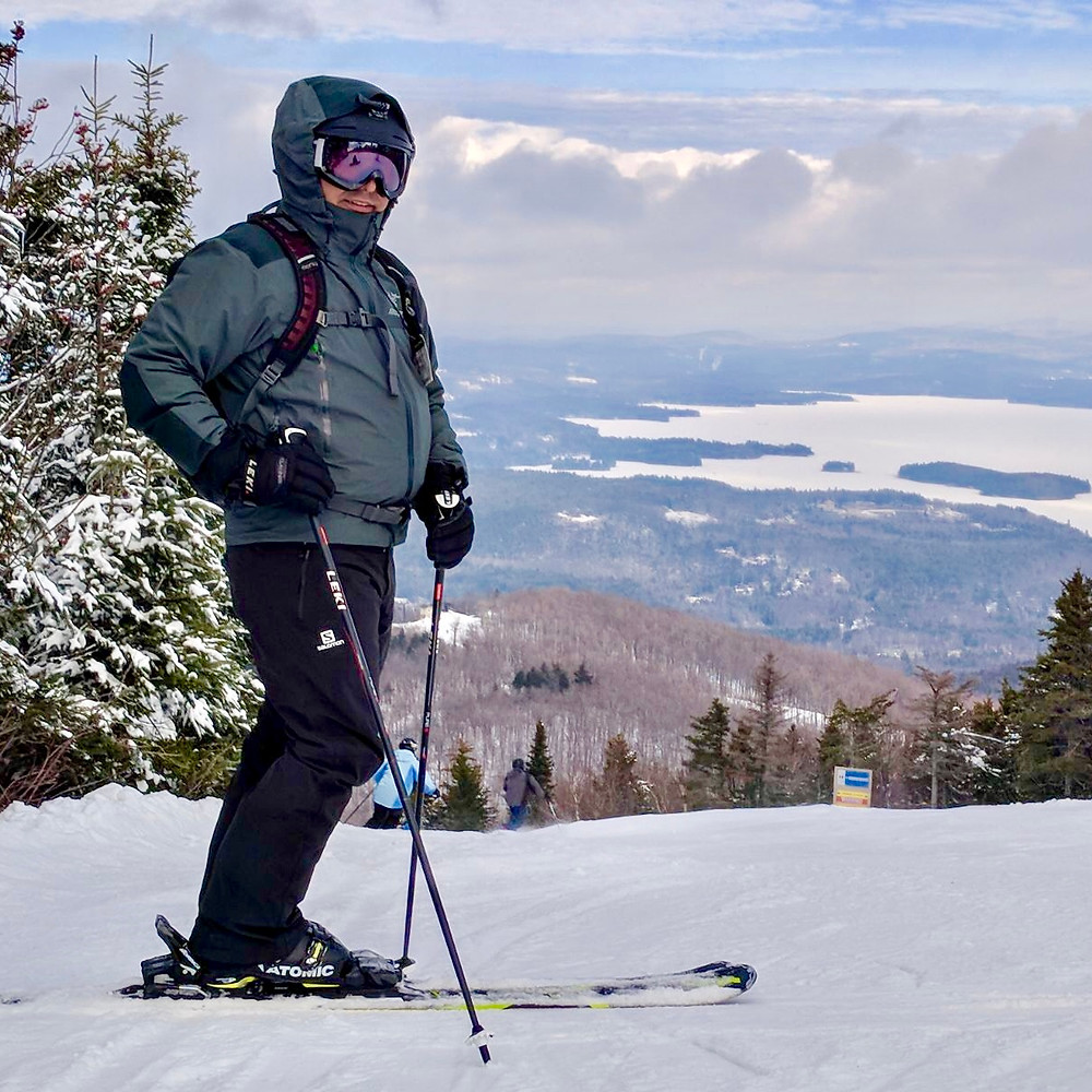 Alex stands for photo at Sunapee Mountain