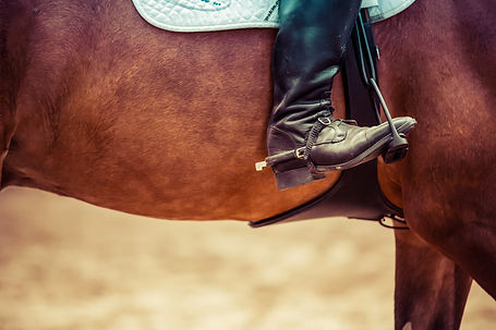 cowboy boot in the saddle of a horse