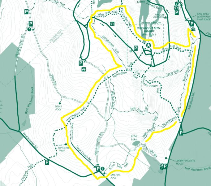 Trail loop of Mount Wachusett
