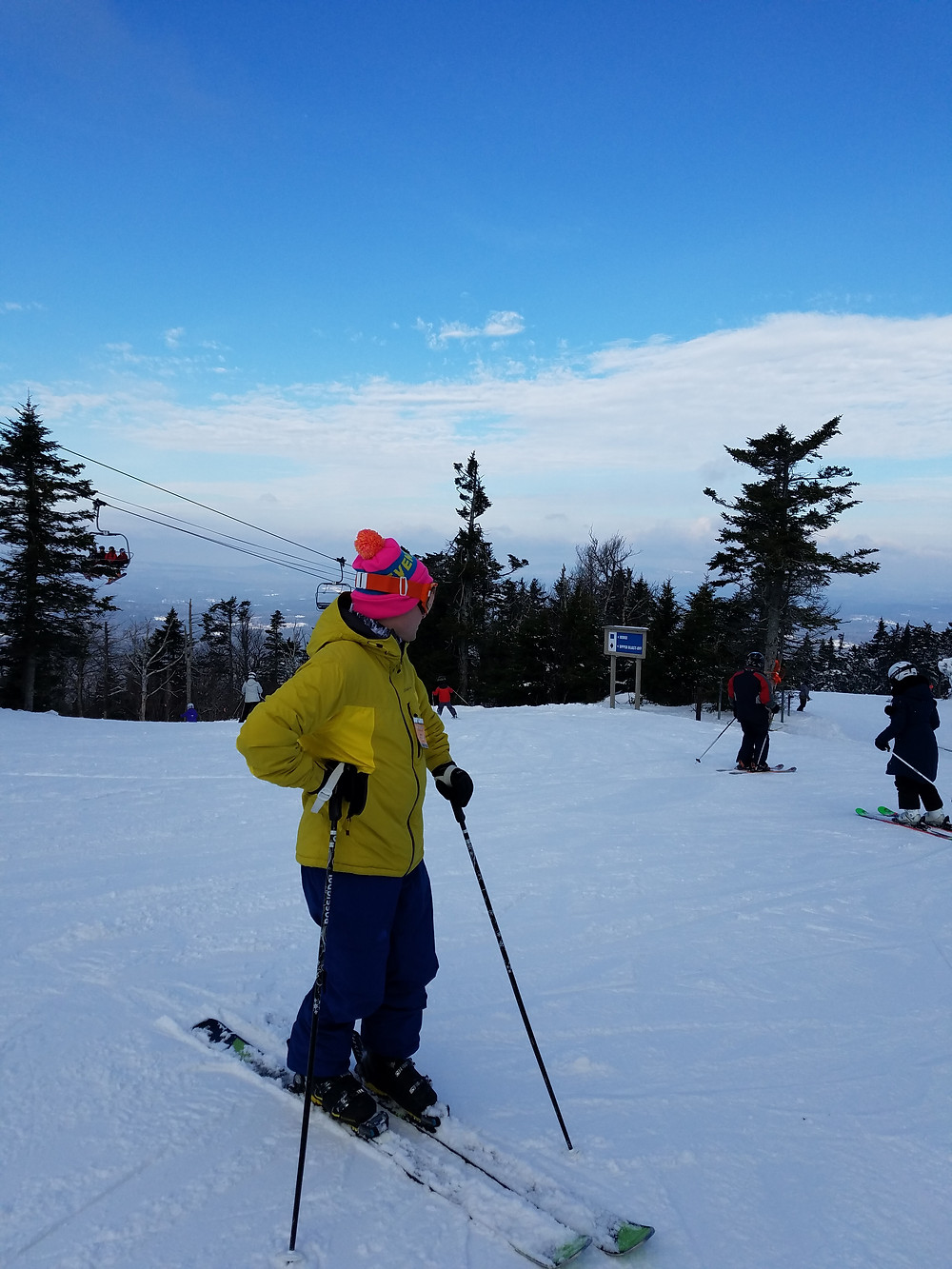Tomas with pink hat at Sunapee