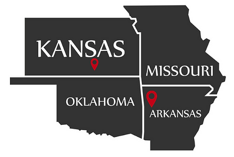 A black map with white lettering of Kansas, Missouri, Oklahoma and Arkansas