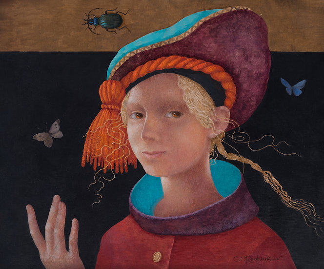 A girl with a spilled hat