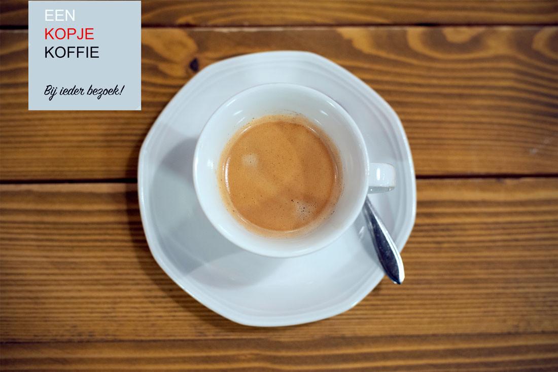 Bij ieder bezoek een gratis kop koffie.