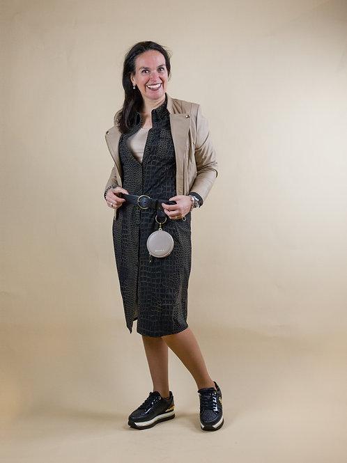 croco print doorknoop jurk