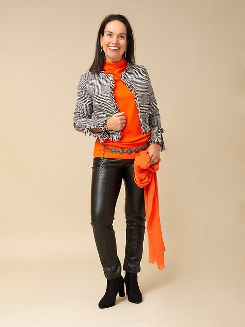 tweed jasje zwart/wit