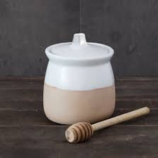 Dipped White Honey Pot