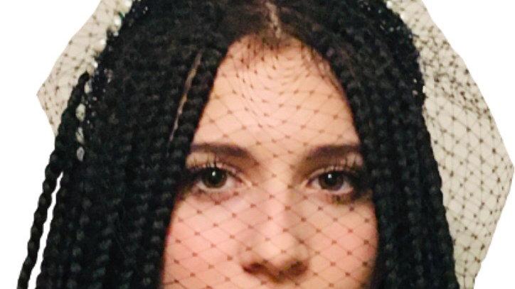 Black Beaded Wedding Headband with Birdcage Veil